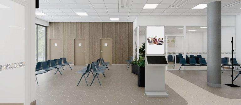 nemocnica bory urgentny prijem vizualizacia stolicky kiosky identifikacia miestnost pohotovost