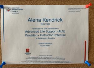 Nemocnica Bory_ALS certifikat_Alena Kendrick